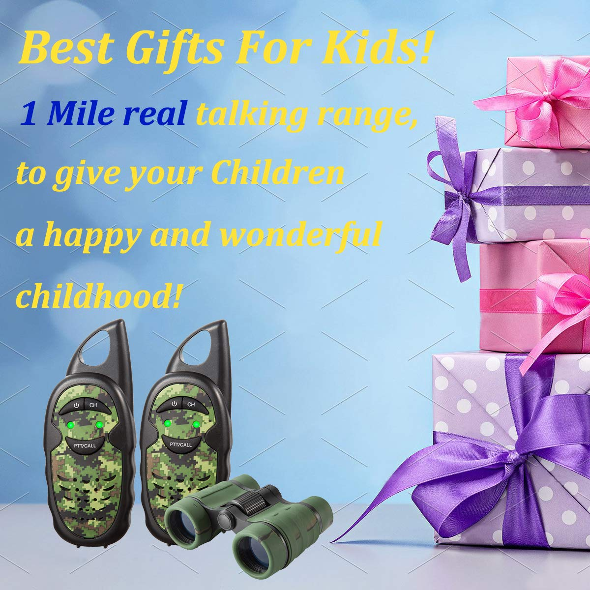 Walkie Talkies for Kids with Binoculars, 2 Mile FRS Technology 2 way radio Toy, Easy to Use for Little Hands Walkie Talkies for Boys, Walkie Talkie Set with Kids Binoculars,Best Toys Gifts for Kids by inYYTer (Image #5)