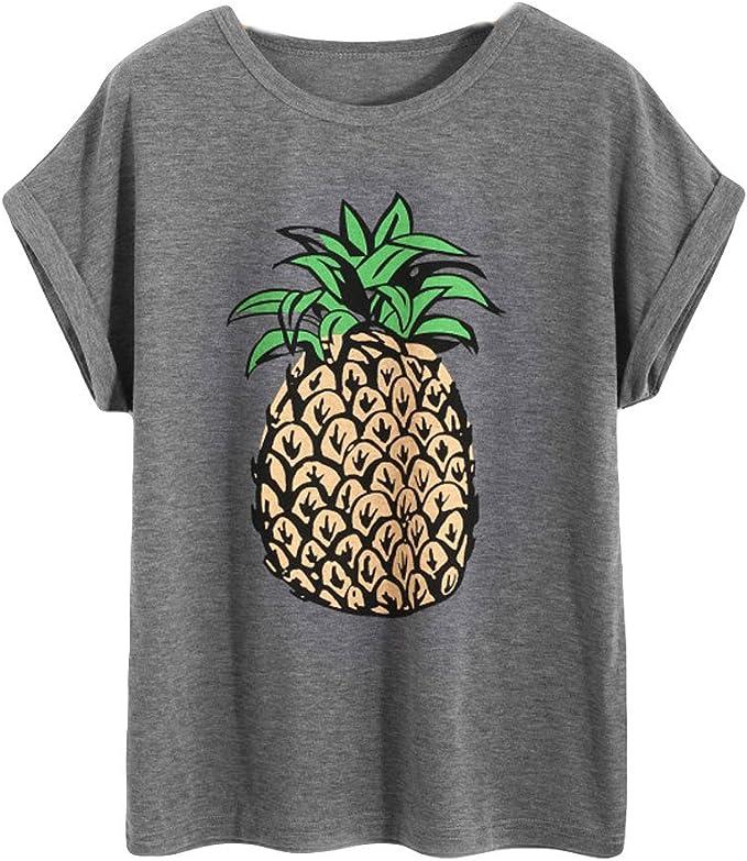 HARRYSTORE Blusas Casual Mujer Tallas Grandes de Piñas Camiseta Manga Corta Camisas Anchas Cuello Redondo Verano Primavera (Small, Gris): Amazon.es: Bricolaje y herramientas