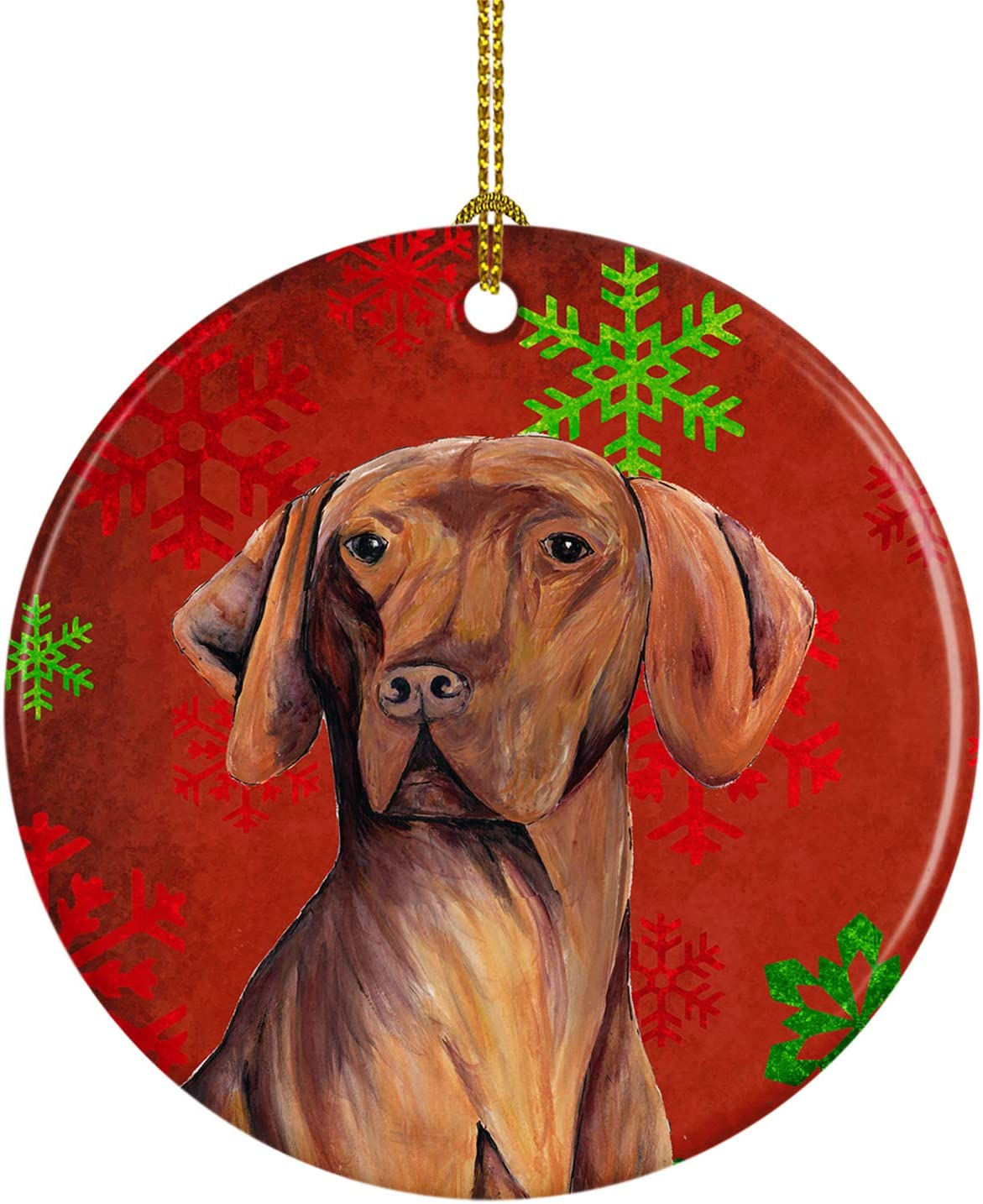 Carolines Treasures LH9235-CO1 Vizsla Candy Cane Holiday Christmas Ceramic Ornament LH9235 Multicolor 3 in