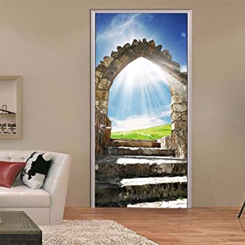Adornos navideños para Halloween 3D estéreo puerta Puerta adhesivos adhesivo (una puerta de piedra horizontal) salón dormitorio decorado puertas muro ...