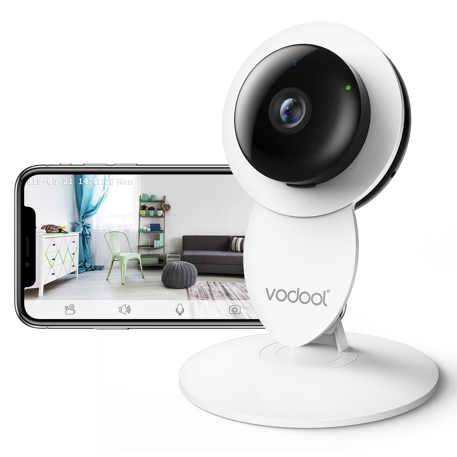 Vodool 1080p Home Camera, Indoor IP Surveillance Home Security Camera System Night Vision, Wireless Wi-Fi Remote Monitor iOS & Android App, Clear Two-Way Audio, Motion Detection Alert (White) by vodool