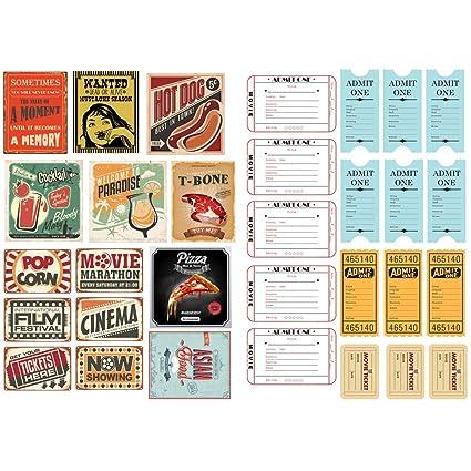 Vintage Movie Ticket Ads Waterproof Decor Planner Sticker Pack Post It Notebook Agenda Toy Scrapbooking Stickers (PK126)