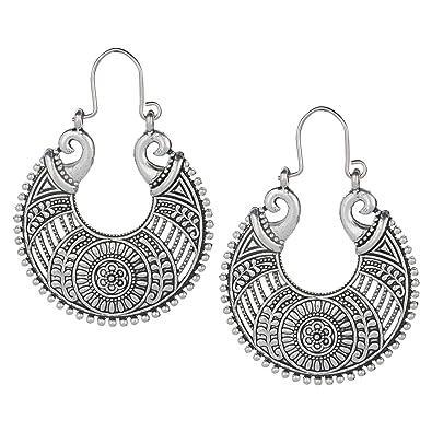 100cf56b1 Efulgenz Indian Vintage Retro Ethnic Dangle Gypsy Oxidized Silver Tone Boho Hoop  Earrings for Girls and