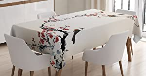 """Ambesonne Nature Tablecloth, Birds on Cherry Tree Branches Summer Classic Oriental Illustration, Rectangular Table Cover for Dining Room Kitchen Decor, 60"""" X 90"""", Ruby Caramel"""