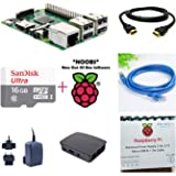 Raspberry Pi 3 Model B - Official Complete Kit (RPi 3, Case, Adapter, NOOBS card, HDMI Cable, LAN Cable) (16GB NOOBS, 5V 2.5A Stontronics Adapter, Official Black Case)