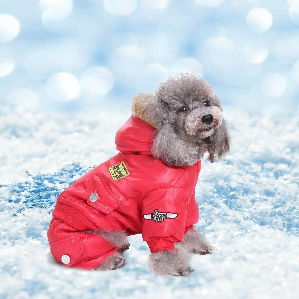Comaie Manteau d'hiver, veste USA Air Force pour animal domestique, vêtement à capuche pour petit chiot, chaud, Medium pour animal domestique, combinaison à capuche Air-force trench à combinaison pour animal domestique, Doggie Apparel, tenue rouge, manteau