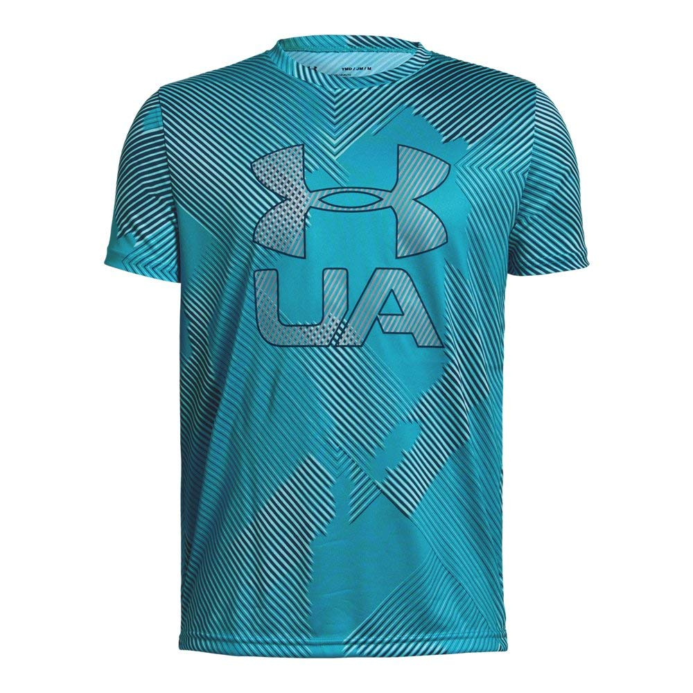 Under Armour Boys' Printed Crossfade T-Shirt, Deceit (439)/Techno Teal, Youth Small by Under Armour
