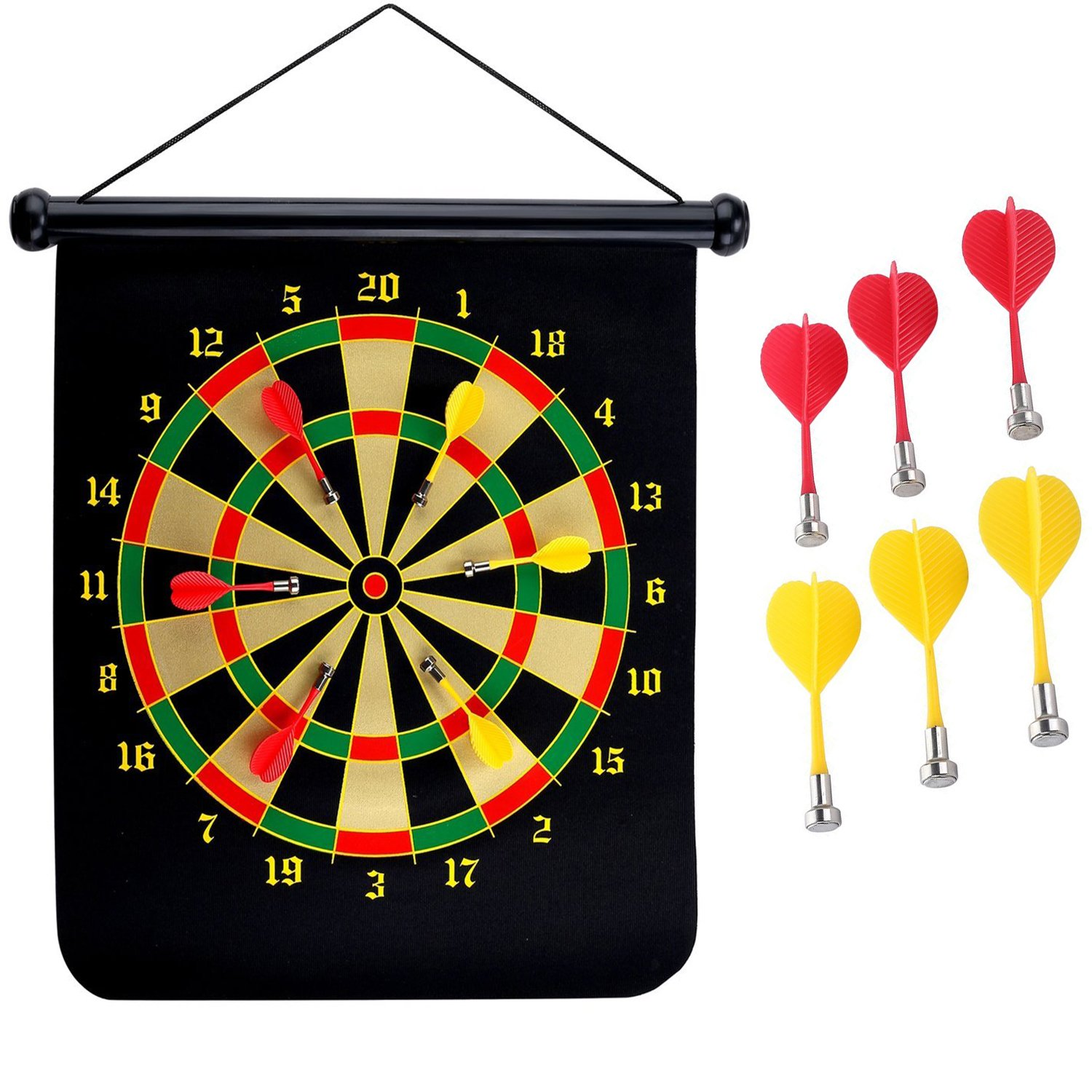 MANSHU 15 inches Magnetic Dart Board Double Sided Hanging Dart Board Set Bullseye Game!