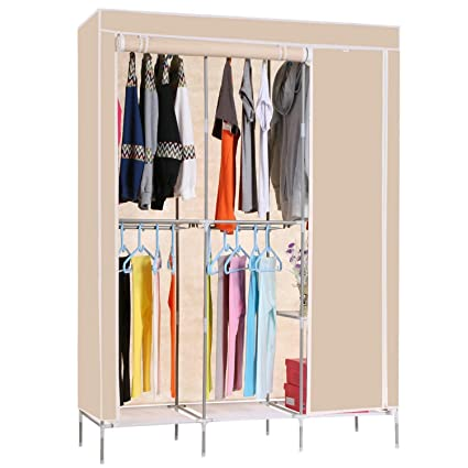 Kaluo Portable Clothes Closet Wardrobe With Canvas Cover Shelf Double Rod  Large Capacity Closet Storage Organizer