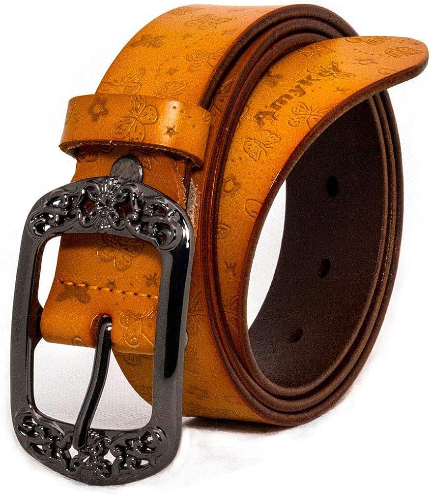 AmyKer Cinturón de cuero genuino para mujer con hebilla en relieve, rojo, amarillo, marrón, negro, regalo para ella