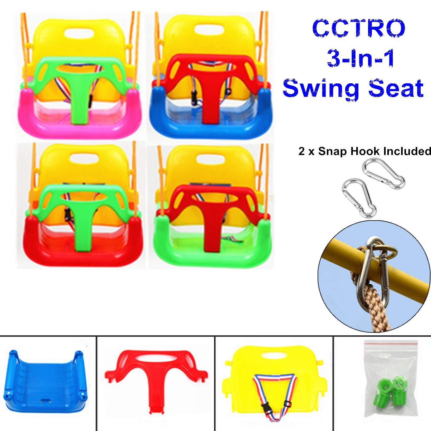CCTRO 3 in 1 Swing Seat, Toddler Infants to Teens High Back Full Bucket Heavy Duty Chain Detachable Playground Jungle Gym Secure Hanging Swing Seat Set for Children Indoor Outdoor Patio by CCTRO (Image #5)