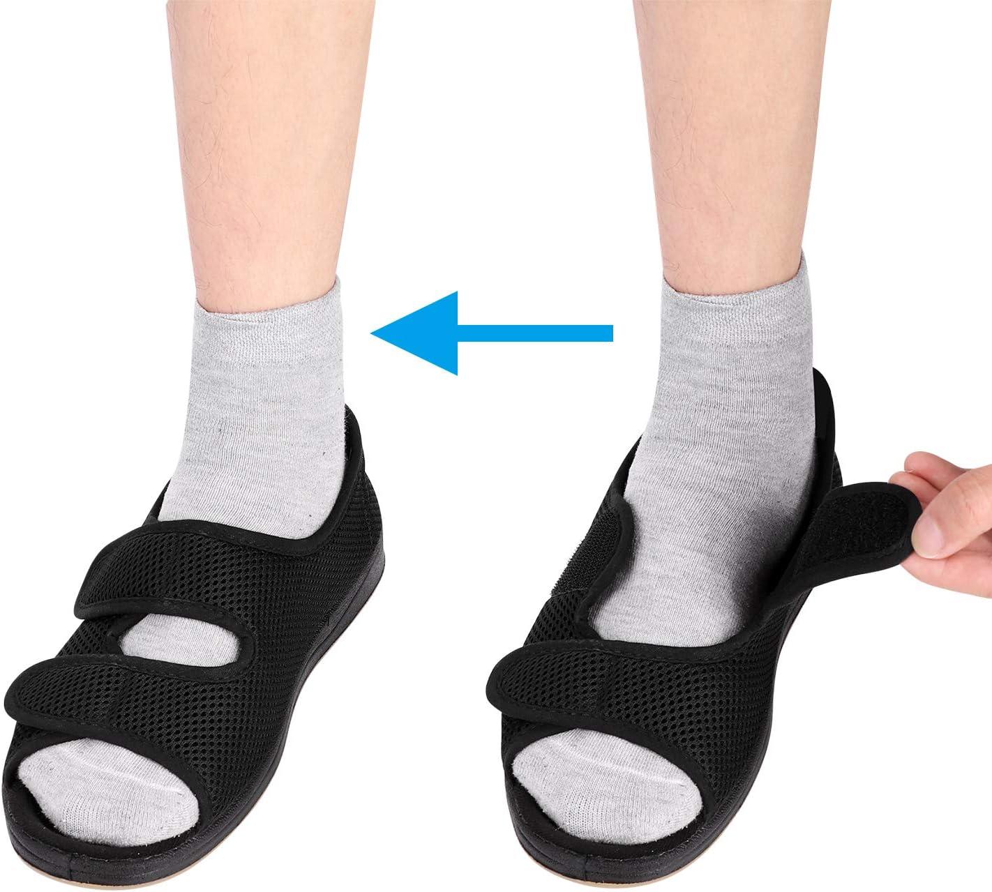 ITODA - Zapatos para diabéticos ortopédicos de viscoelástica con Punta Abierta, Ajustable, Antideslizantes, cómodos, para pies hinchados, Artritis Oedema, Noir 2, EU 38.5