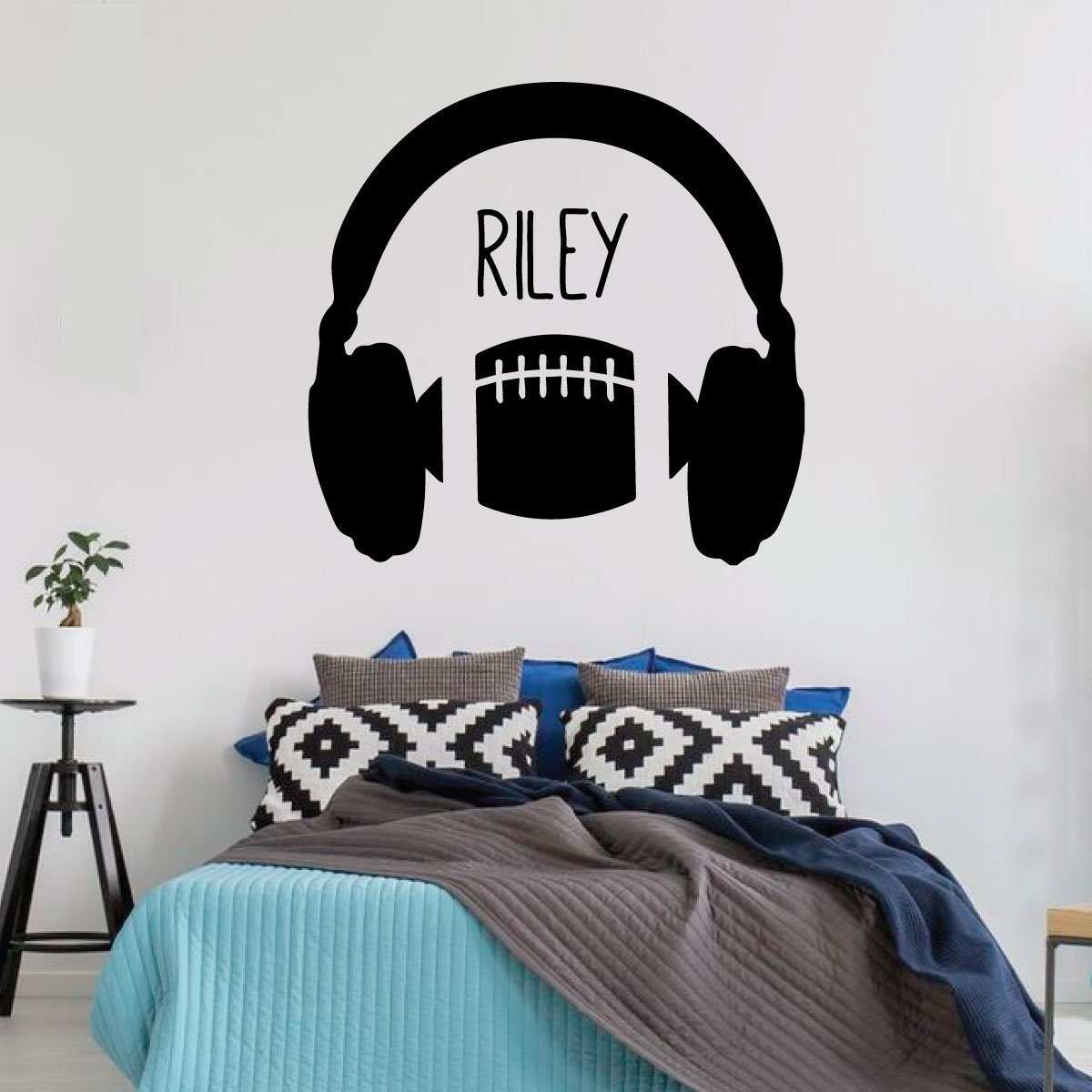 Football Wall Decal - Headphones - Vinyl Art Sticker for Boy's Bedroom Decor, Playroom or Game Room Decoration
