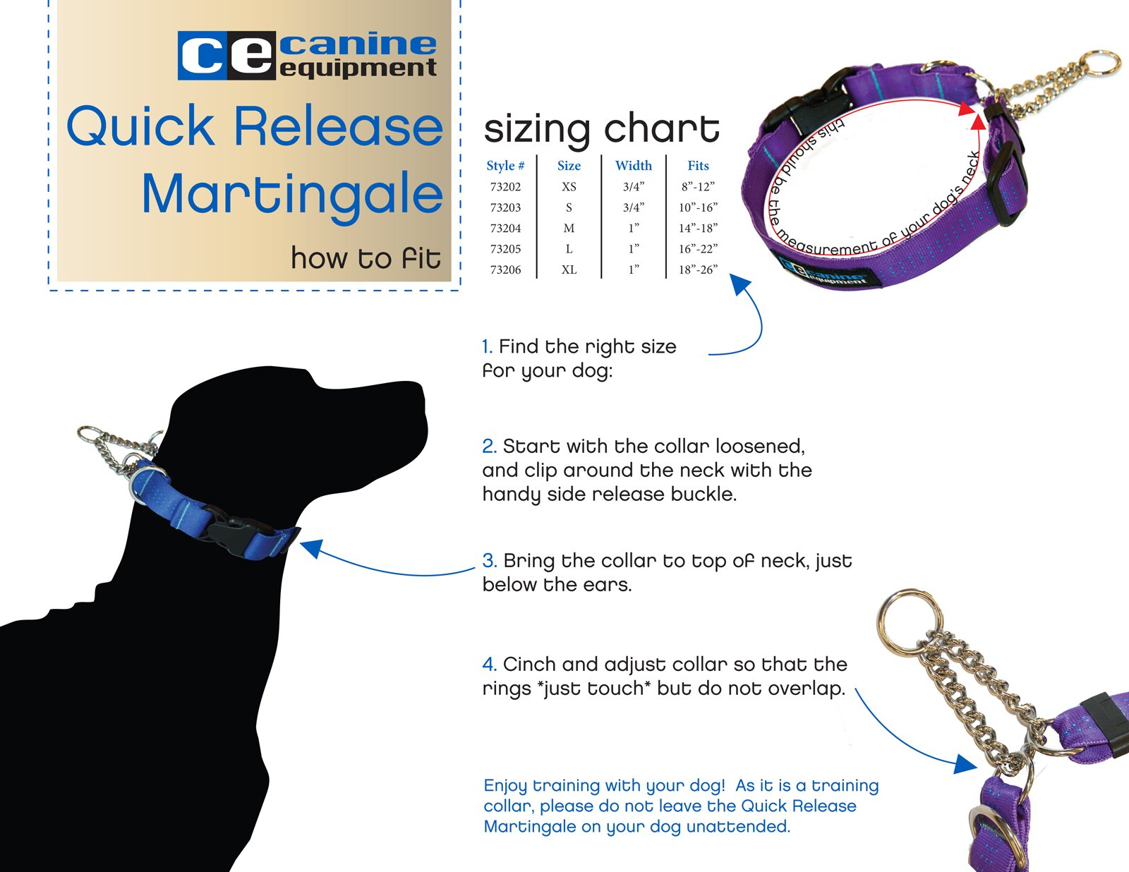 RC Pet Products Technika 3/4-Inch Quick Release Martingale Dog Collar, Small, Black