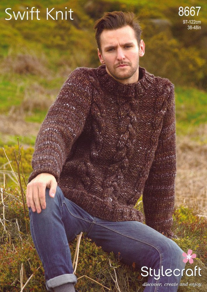 Stylecraft Swift Knit Super Chunky Sweater Pattern 8667: Amazon.co ...