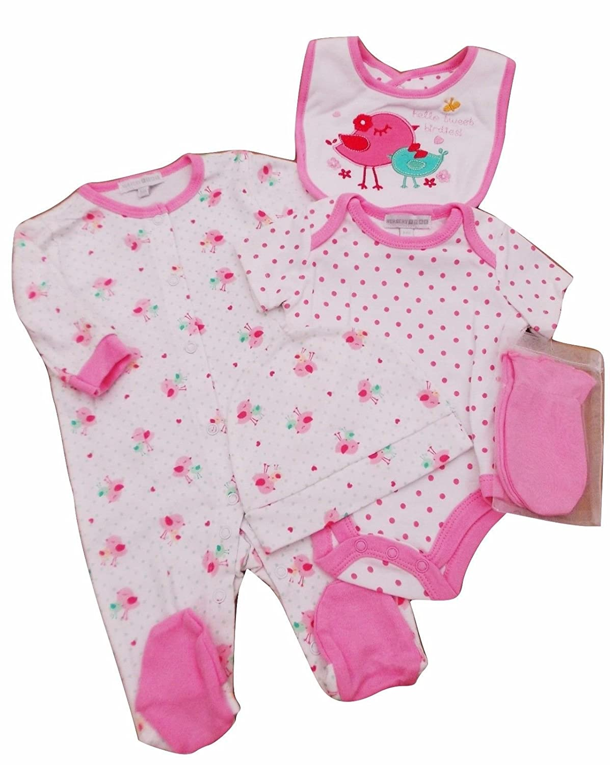 with Tags Baby Girls 5 Piece Bird Layette Set Clothes Newborn 0-3 3-6 mth
