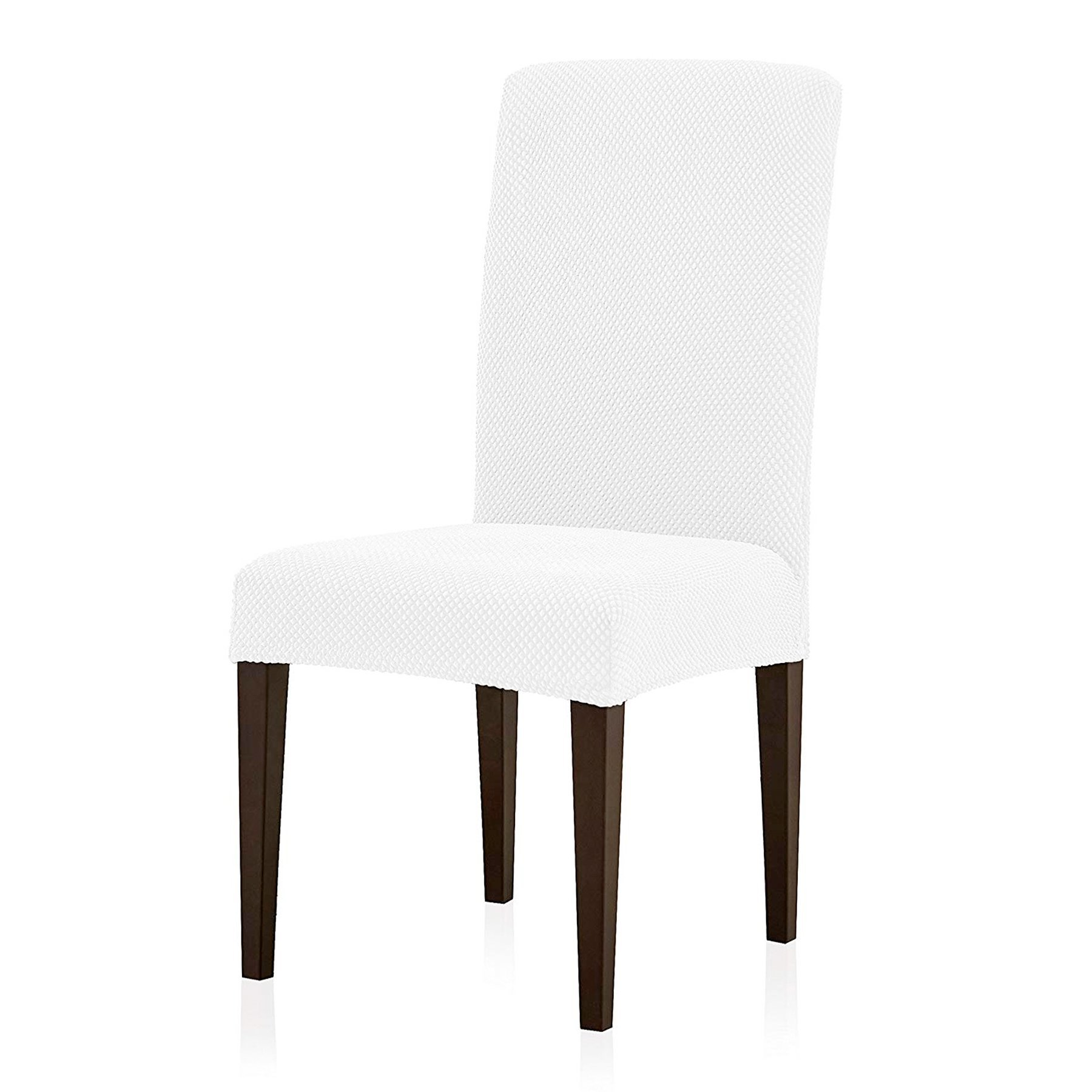 Subrtex Jacquard Dining Room Chair Slipcovers Sets, Stretch Chair Furniture Protector Covers, Removable Washable Elastic Parsons Chair Cover for Dining Room, Hotel, Ceremony (4 PIECES, White Jacquard)