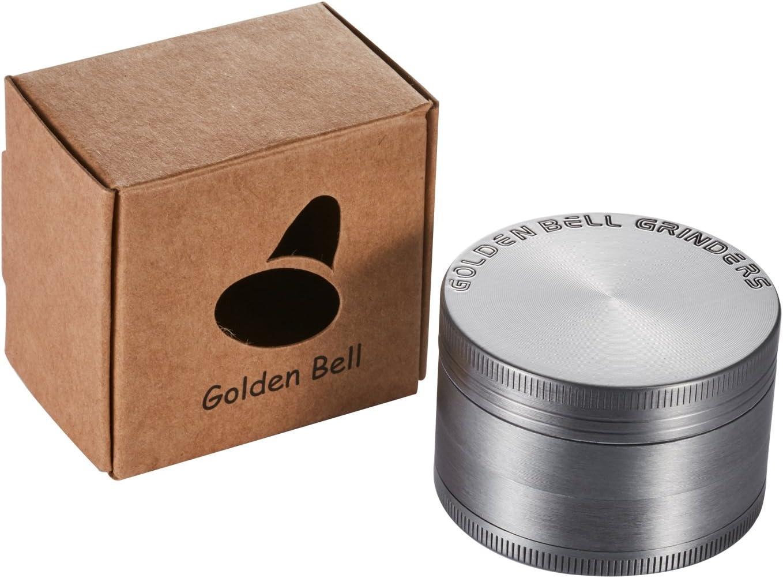 Golden Bell 2 inch Spice Herb Grinder Stylish Diamond Edge Pattern Nickle Black