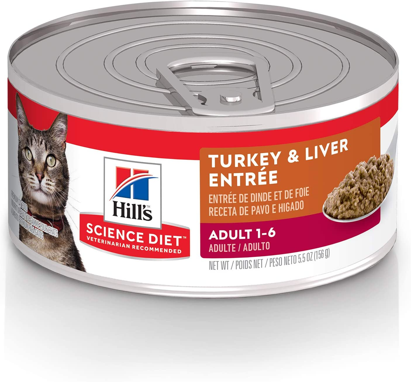 Hill's Science Diet Wet Cat Food, Adult, Minced Turkey & Liver, 5.5 oz Cans, 24 Pack, Hill's Science Diet Wet Cat Food, Adult, Minced Turkey & Liver, 5.5 oz Cans, 24-pack