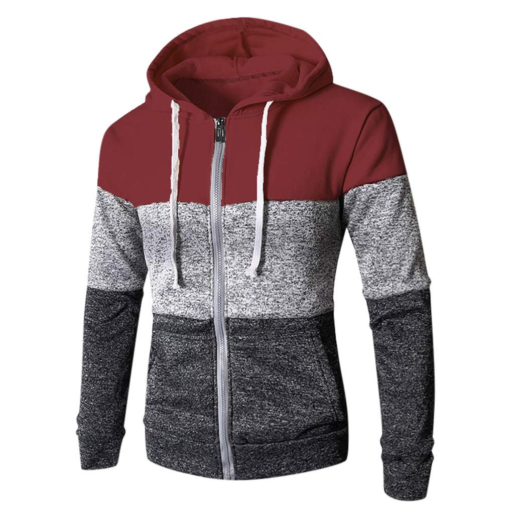 Kiminana Casual Sweatshirt,Fashion Men's Stitching Pocket Zipper Long Sleeve Hooded Sweater Stitching Outerwear Red by Kiminana