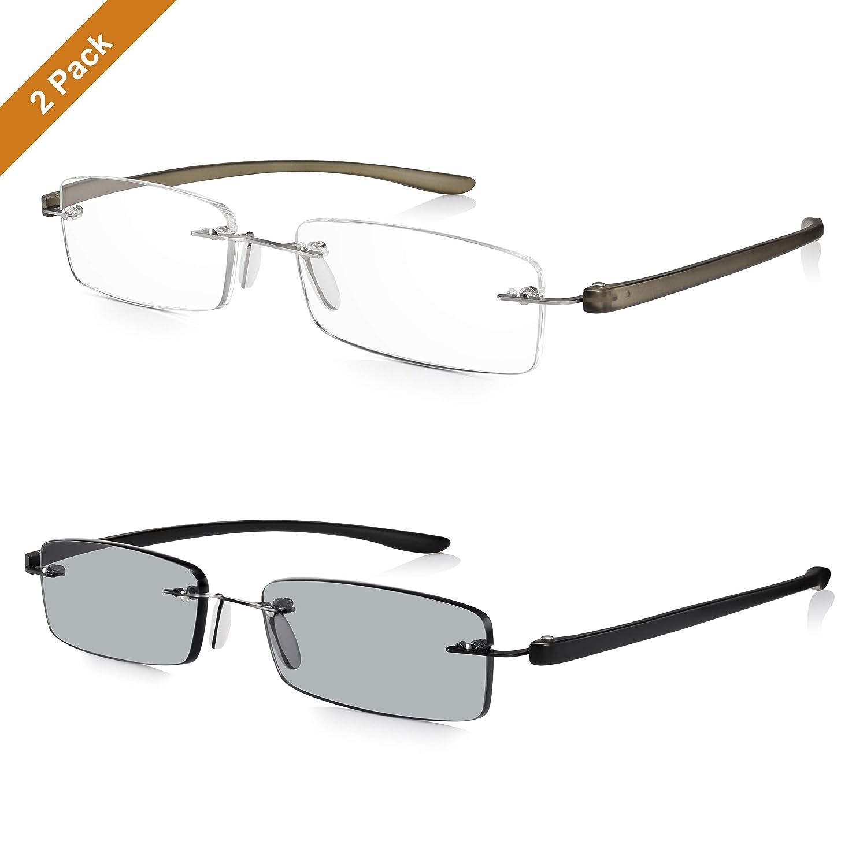 Read Optics Gafas de Sol para Lectura Hombre/Mujer Sin Marco: Lentes Tintadas +2.00 Dioptrías Protección Rayguard™ UV-400 y Varillas Flex Resistentes ...