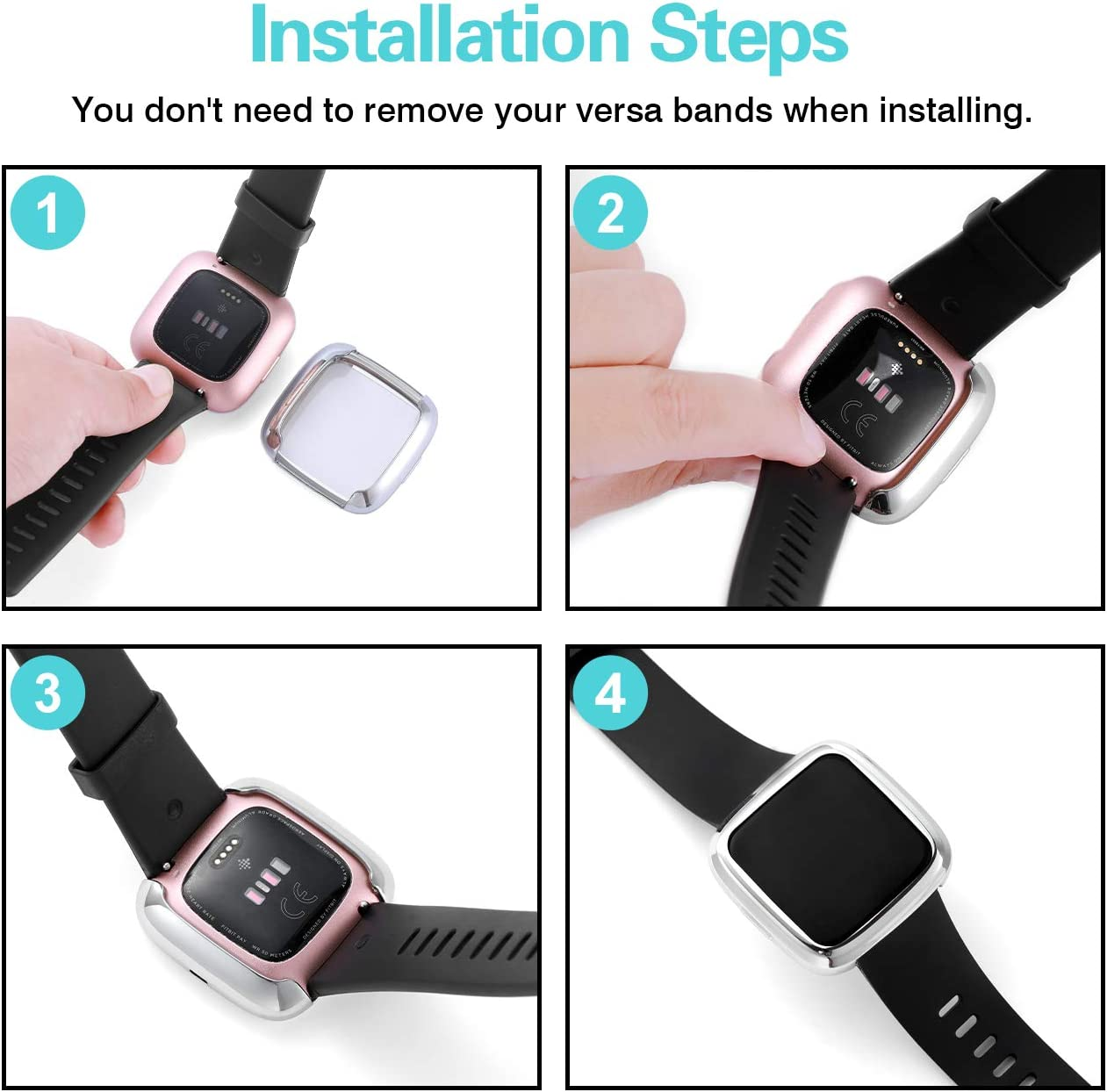 3-Pack Soft TPU Plated Bumper Full Cover Cases for Fitbit Versa Watch Shock Proof Slim Shell Replacement Black//Silver//Clear Wepro Screen Protector Case Compatible with Fitbit Versa 2 Smartwatch