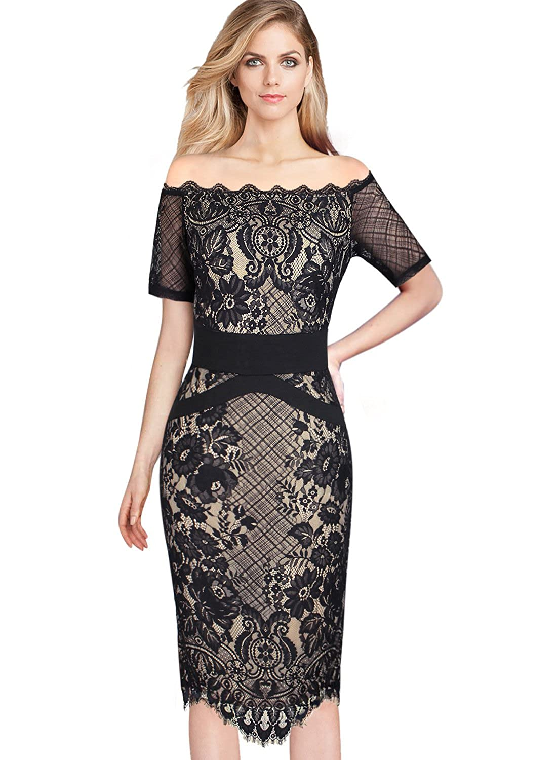 107fe25286 VFSHOW Womens Sexy Off Shoulder Floral Lace Cocktail Party Sheath Dress