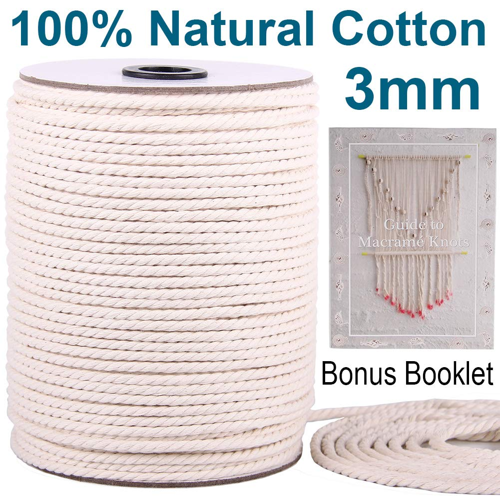 XKDOUS Macrame Cord 3mm x 220Yards   100% Natural Macrame Rope   3 Strand Twisted Cotton Cord for Wall Hanging, Plant Hangers, Crafts, Knitting, Decorative Projects   Soft Undyed Cotton Rope