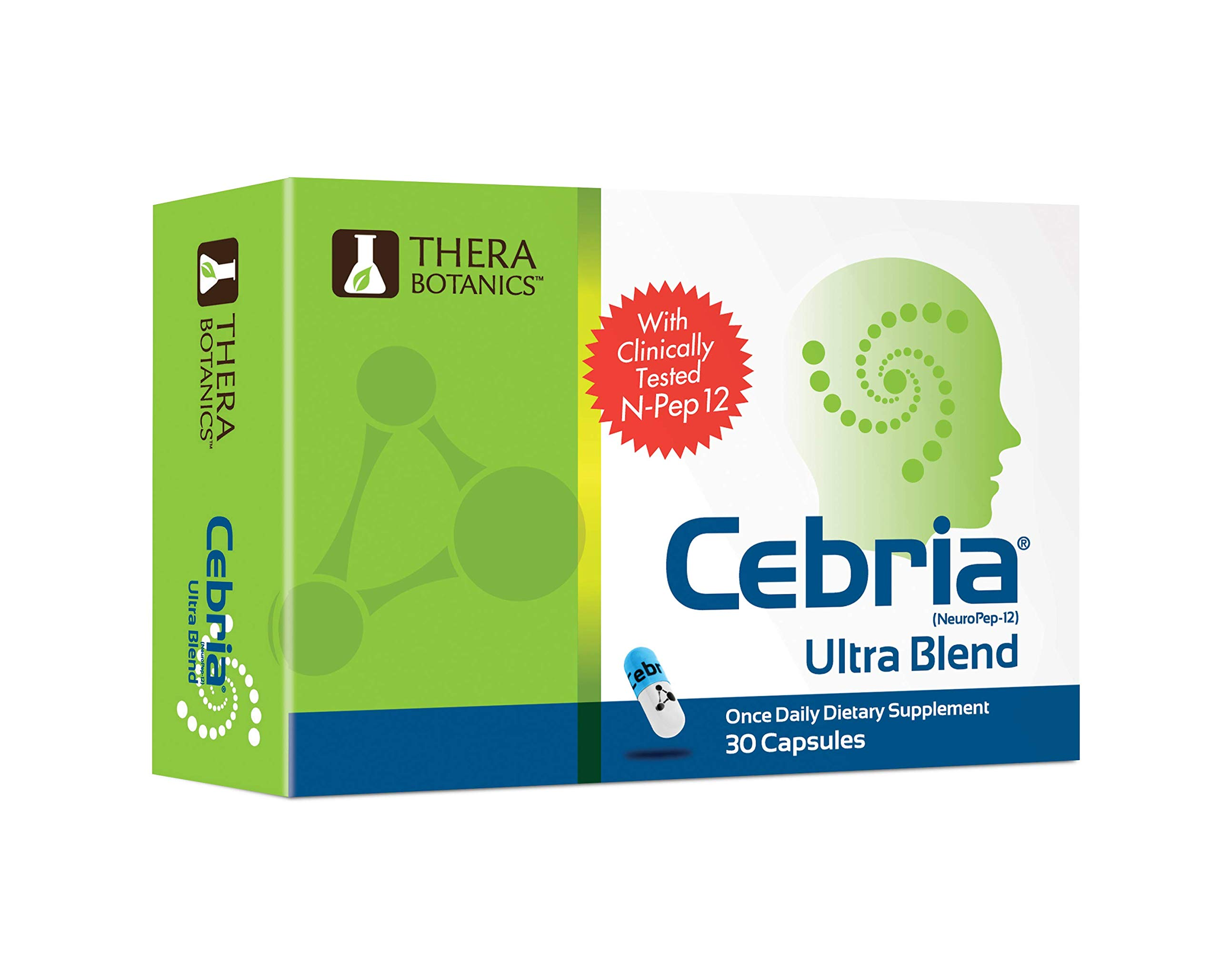 Cebria Ultra Blend | Brain Memory Supplement for Men, Women & Seniors – Safe and Effective | Made with Non-GMO Ingredients | 3 Month Supply