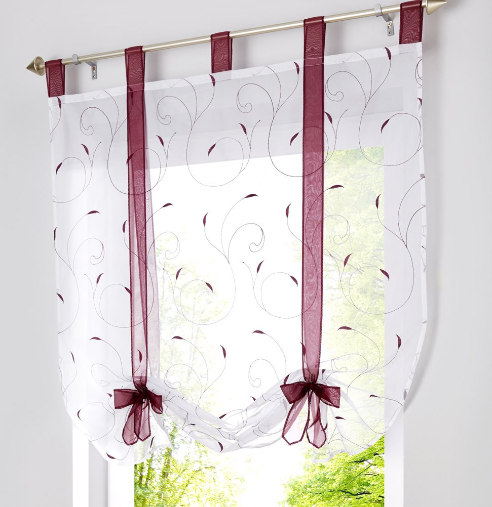 LivebyCare 1pcs Floral Embroidered Tie-Up Roman Shades Tap Top Sheer Balcony Window Balloon Curtain Voile Drape Bowknot Drapery Valance Panels for Home Decor Decorative