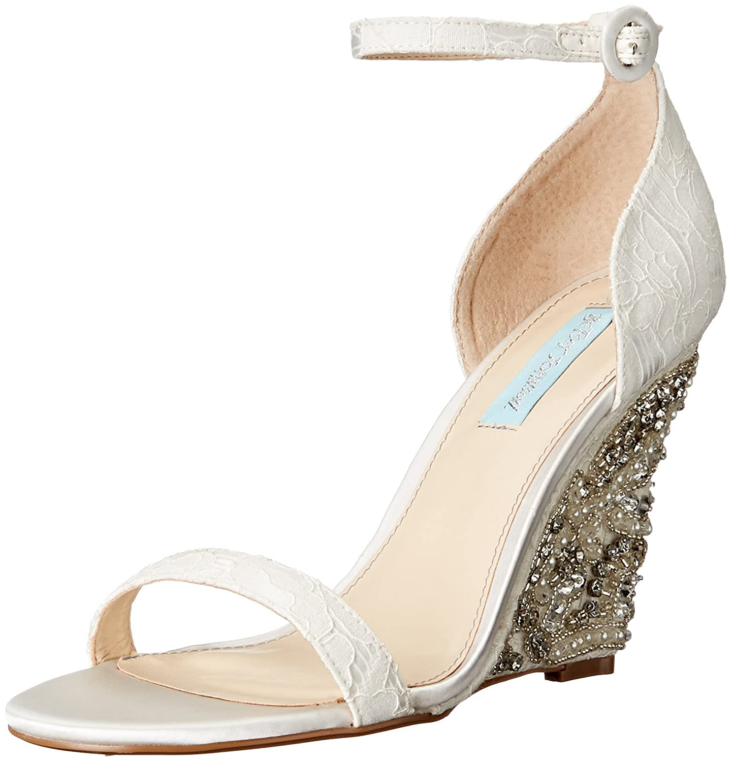 Betsey Johnson Blue by Betsey Johnson Alisa Lace and Satin Wedge Sandals v3Ny9Nz