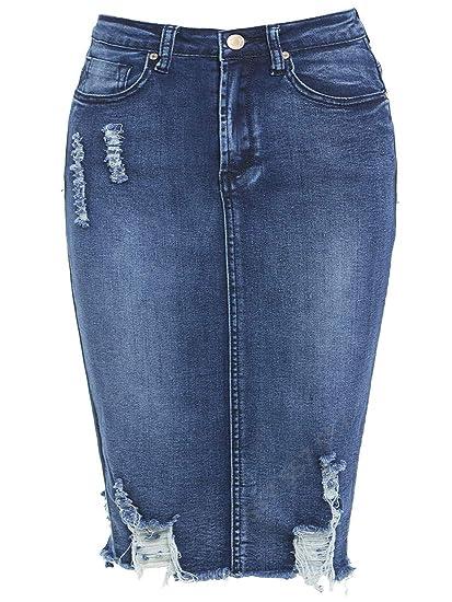 236e2bb0bf5b29 SS7 nouvelles femmes jeans délavé Jupe extensible, Tailles 8-14