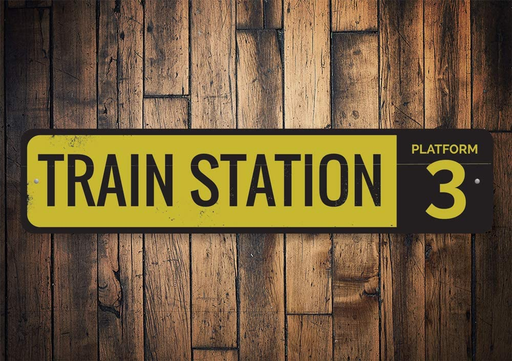 Personalized Train Man Cave Sign ENSA1001524 Train Station Platform Number Sign