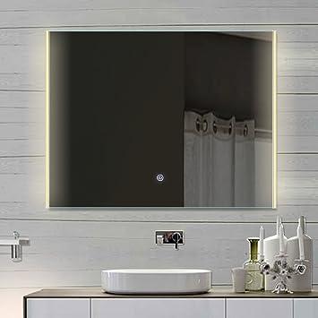 cuarto de bao espejo con luz led touch interruptor luz tono frocaliente hlm x