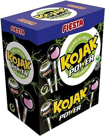FIESTA Kojak Power Caramelo con Palo Sabor Bebida Energética Relleno de Chicle - Con Guaraná - Caja de 100 unidades: Amazon.es: Alimentación y bebidas