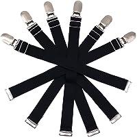 6 Pcs Adjustable Elastic Garter Belts Corset Body Shaper Garter Clips (Black with Metal Buckle)