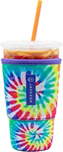 Java Sok Reusable Iced Coffee Cup Insulator Sleeve for Cold Beverages and Neoprene Holder for Starbucks Coffee, McDonalds, Dunkin Donuts, More (Tie-Dye Rainbow, 30-32oz Large)