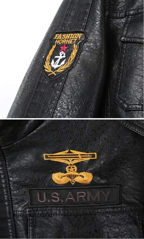 JIAX Mens Retro PU Leather Moto Jacket Windproof Airforce Bomber Pilot Coat