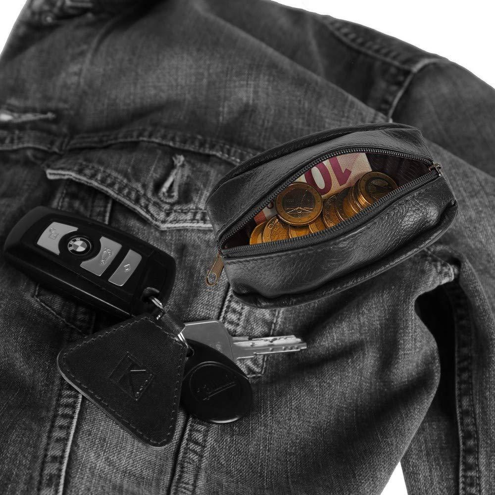 TK Porte-Monnaie Homme Noir pour Poches Pantalon ou Veste//Porte-cl/és TK1979 Cuir v/éritable