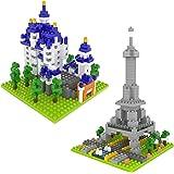 Mini Nanoblock Eiffel Tower and Neuschwanstein Castle DIY Architectural Building Blocks Gift For Boys Girls, Stem Educational Toy Set - 729PCS