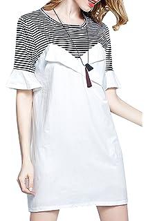 Les umes Womens Cute Modest Striped Stripe Elegant Petite Topshop A Line Midi Shift T Shirt