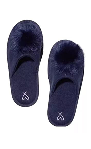 popular stores special section another chance Victoria's Secret Pom-Pom Slippers Navy Blue Medium 7/8 ...