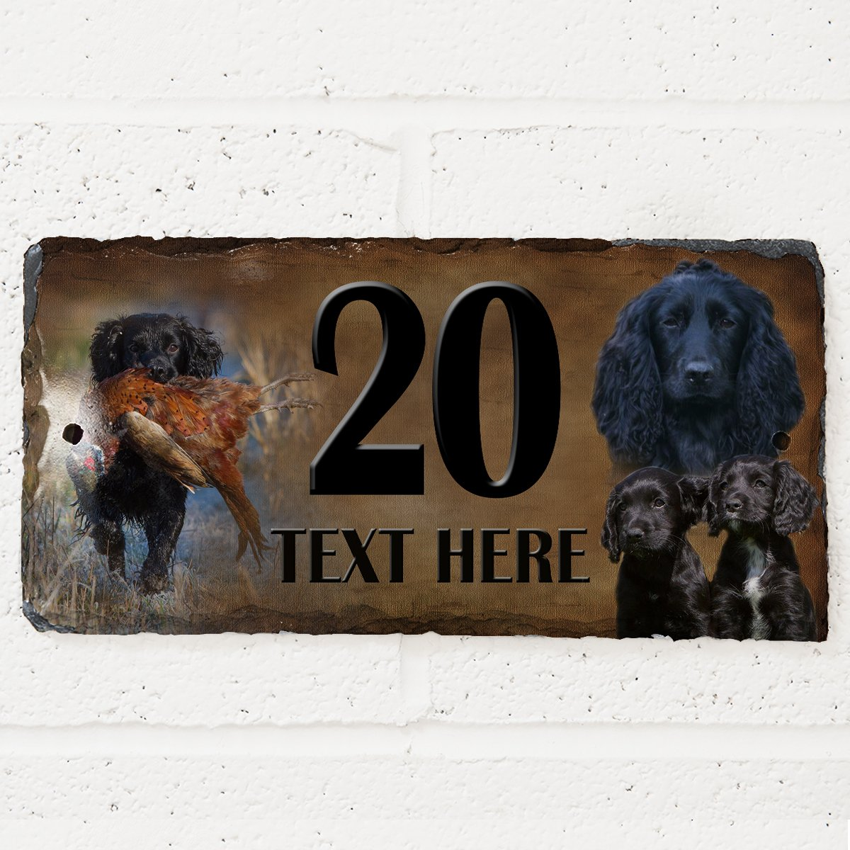 Black Cocker Spaniel Dog House Slate Personalised Name Number Gate Plaque KRAFTYGIFTS KHS09