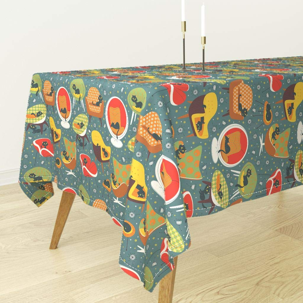 Tablecloth - 1960S Chairs Black Cat Vintage Sixties Forniture Design Sf1dc5era by Gnoppoletta - Cotton Sateen Tablecloth 90 x 90