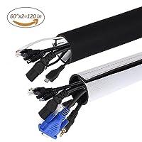 Universal Neopren Klettverschluss Kabelschlauch 3 M Einstellbare Flexible Cord Organizer Kabelkanal Kabelhülle Schutz-System für DES TV, Computer, Heimkino (150x13,5cm,150x10,2cm)