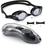 Aegend Silicone Racing Swim Goggles Anti-fog UV Protection No Leaking for Men Women Adult Youth Kids Child Triathlon Swimming Goggles with 3 Sizes Replaceable Nose Pieces and Free Protection Case