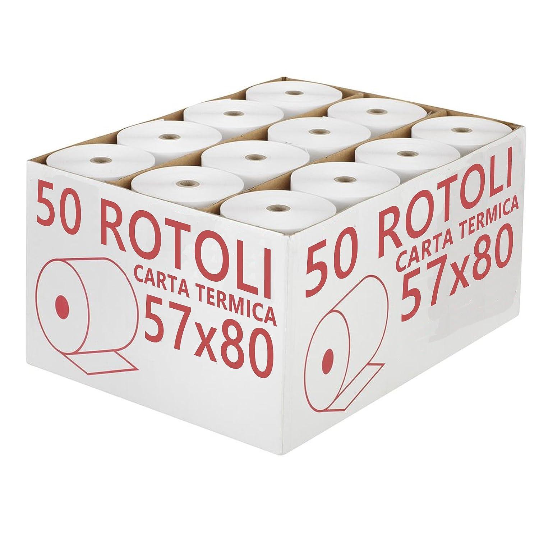 Confezione 50 Rotoli Termici mm 57x80 mt Omologati per Registratore di Cassa Carta Termica 1^ Qualità NO OEM