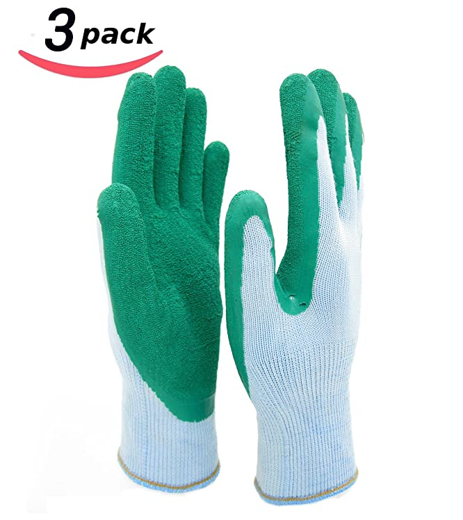 HOMWE Gardening Gloves for Women and Men- Texture Grip -Three Pair Pack - Medium