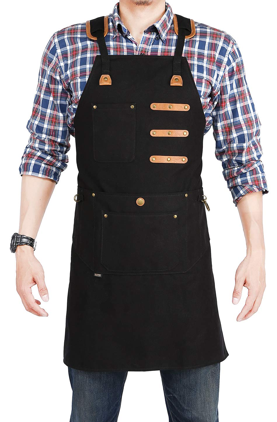 HOLANTON Shop Apron with 9 Tool Pockets Woodworking for Unisex Multifunctional Denim Smock Adjustable M to XXXL (BLACK) by HOLANTON