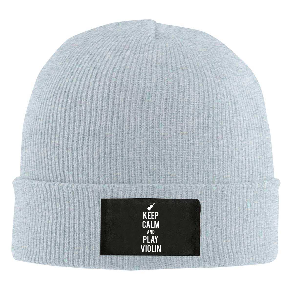 Keep Calm and Play Violin Unisex Knitted Hat Winter Warm Snowboarding Hat